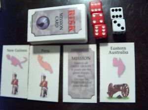 RISK Cards 1998 Replacement Complete Set of 56 , 44 Risk & 12 Mission + 5 Dice