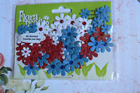 80 Jewelled Florettes RED WHITE BLUE - FLORA DOODLES 15-25mm Petaloo I