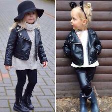 AU Stock Toddler Kids Girls Clothing Faux Leather Jacket 2-7 Zippered Thin Coats