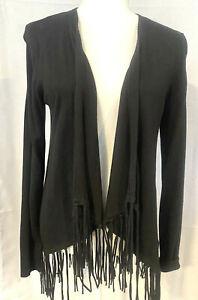 Michael Kors Black Open Front Cardigan Fringe Sweater - Size Small