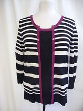 Ladies Cardigan M&Co, UK 12, black/ivory/purple fine knit, mock top insert 7164