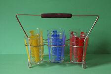 Gläserhalter aus Messing mit 6 bunten Gläsern Saftglas Wasserglas 061864