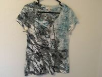EUC COLDwater CREEK SIZE S (6-8) blue grey white designer T-shirt so pretty