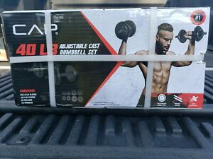 NEW CAP 40Lb Total Adjustable Cast Iron Dumbbell Weight Set Free SHIPPING 40lbs