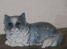 Goebel Light Blue/White Cat Laying Figurine Large. W Germany Very Good shape.