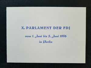 Gedenkblatt DDR - X. Parlament der FDJ in Berlin, rar