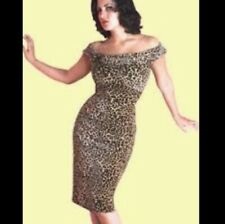 Stop Staring leopard print wiggle dress rockabilly pinup animal 50s Small 8 10
