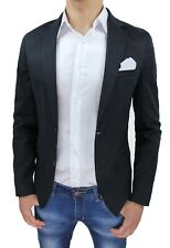 Giacca uomo slim fit nera elegante casual blazer in cotone 100% made in Italy