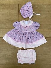 """Handmade Baby Dolls Clothes Dress, Panties And Bonnet Set - 20"""" To 22"""" Doll"""