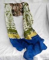 Lightweight Cotton Scarf - Blue, Green, Gold and Brown Tie Dye and Spotted Scarf