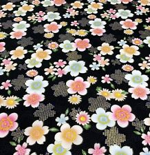 Fat Quarter Oriental Blossoms and Flowers Black Cotton Quilting Sewing Fabric