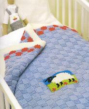 Sheep Patch Baby Blanket ~ Aran Wool Knitting Pattern ~  80cm x 80cm