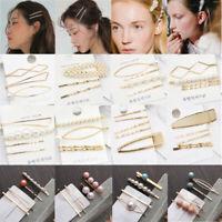 Metal  Geometric Irregular Hairpins  Hair Clips Barrettes Pearl Hairgrips