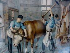 SCHLACHTER IM RINDER SCHLACHTHAUS - antiker Kunstdruck 1915 /orig Rahmen