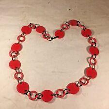 "Vtg MCM Chain BELT Retro Mod Boho Red Plastic GEOMETRIC Circle Rings 40.5"""