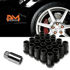 M12X1.5 Black JDM Open End Bulge Hex Wheel Rim Lug Nuts+Extension 25mmx44mm 20Pc