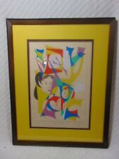 "Rare Vintage Modern Abstract Art Signed Litho by Chaim Gross 1975 ""My People"""