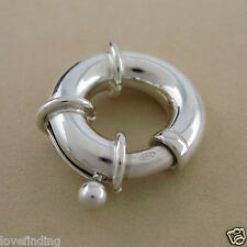 925 Solid Sterling Silver Large Bolt Ring 18mm Italy Made