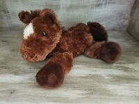 Adorable Vintage Chocolate Brown Small Plush Horse by Aurora Super Soft Animal