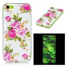 Pink Roses Flower TPU Gel Cover Glow in the Dark Phone Case for Apple iPhone 5C