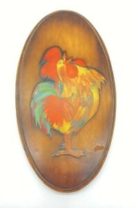 "Vintage Wood Wall Hanging Art Rooster 11"" x 6"" Farmhouse Decor"