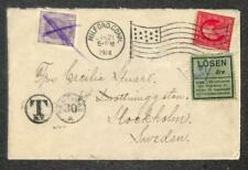 MILFORD CONNECTICUT USA TO SWEDEN POSTAGE DUE LABEL STAMP COVER 1914