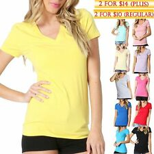 7f9ce338f New Women Crew V-Neck Basic Top Tee Short Sleeve Solid Color Shirts Sizes S