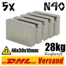 5x Neodym Magnet Quader 46x30x10 N40 28kg Zugkraft - Industriemagnet Dauermagnet
