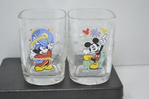 2 DISNEY WORLD 2000 McDonalds COLLECTOR MICKEY MOUSE Square Drinking Glasses