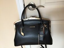 Cromia Made In Italy Black Leather Satchel Shoulder  X-body NWT
