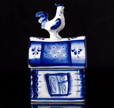Beautiful Gzhel Porcelain Rooster trinket box hand-painted signed author's work