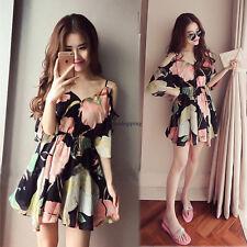 Sexy Womens Off Shoulder Floral Boho Summer Beach Sundress Cocktail Mini Dress