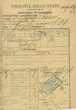Ferrovie dello Stato Bollettino di Consegna a Grande Velocità di Agrumi 1906