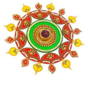 Acrylic Rangoli With Tastefully Designed T Light Holder (Red Yellow Green)