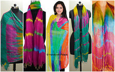 20 Pieces Wholesale Lot Chiffon Scarf Art Indian Handmade Print Stole Hand Died