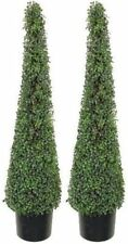 2 ARTIFICIAL 4' BOXWOOD UV OUTDOOR TOPIARY TREE CONE TOWER EVERGREEN BALL SPIRAL