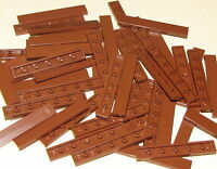 LEGO LOT OF 50 NEW REDDISH BROWN TILES 1 X 6 FLAT SMOOTH PIECES