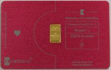 KARATBARS GOLD 1 GRAM 999.9 FINE BAR IN I LOVE YOU METAL CREDIT CARD