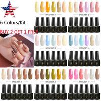 MTSSII 6Pcs/set UV/LED Gel Nail Polish Kit Pure Color Soak Off Varnish Manicure