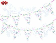 On Your Communion Pink Butterflies Flowers Themed Bunting Banner 15 flags UK