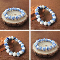 1pc Women Ceramic Beads Blue and White Porcelain Floral Bracelet Bangle Jewelry