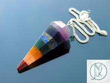 7 Chakra Gemstone Point Pendulum Dowsing Crystal Dowser Reiki Chakra Healing