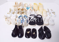 Vintage Doll Shoes Lot 15 Pair Newborn Toddler Sneakers Dress Estate Collection