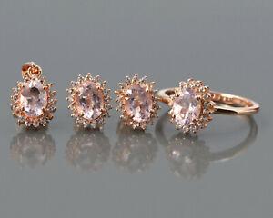 7X5 MM Natural Morganite Gemstone 14K Rose Gold Ring Earring Pendant Jewelry Set