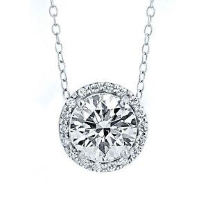 2CT Round Cut VVS1 Diamond Solitaire 14k White Gold Finish Halo Pendant Necklace