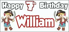Boy Pirate 7th Birthday Banner x 2 - Party Decorations - Personalised ANY NAME