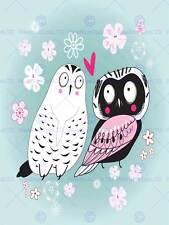PAINTING CARTOON BIRDS OWL PIGEON LOVE HEART VECTOR POSTER PRINT BMP11448