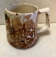 Alaska Sitka Clay Coffee Mug Cup Grizzly Bear Family 8oz vintage vtg dimensional