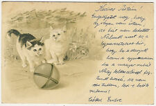 Cats, Two Little Cats Playing with a Ball, Nice Old Embossed Postcard