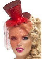 Womens Ladies Fever Sexy Red Mini Burlesque Top Hat Headband Fun Fancy Dress